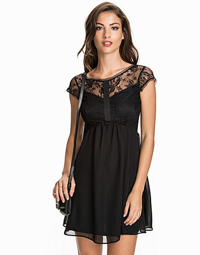 Lace Chiffon Cap Sleeve Skater Dress (1985244907)