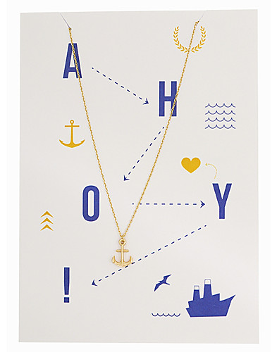 3D Anchor Necklace with card (2182629911)
