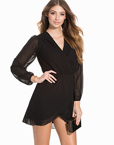 Plain Chiffon Wrap Dress (2187655551)
