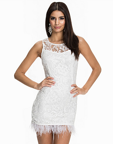 Feather Hem Lace Dress