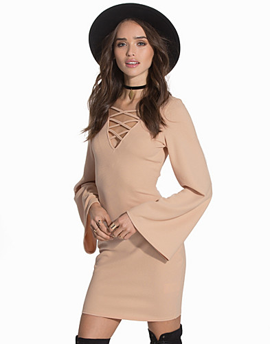 Bell Sleeve Tie Up Dress (2089227839)