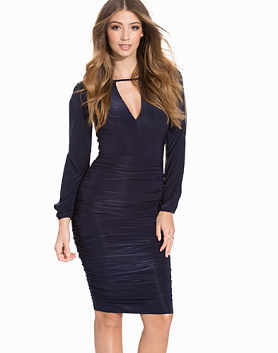 Open Sleeved Rouched Bodycon (2195481111)