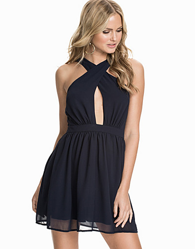 Cross Front Backless Skater Chiffon Dress (1804870295)