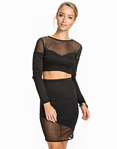 Sweetheart Mesh Insert Crop Top Set (1928428371)