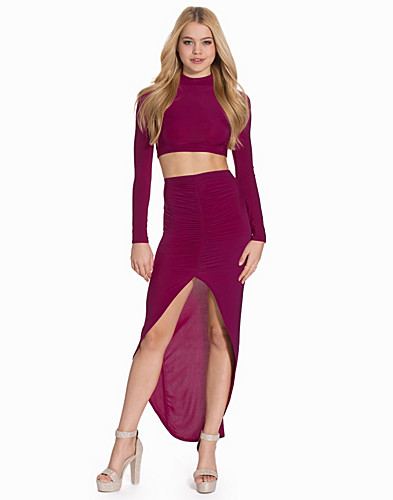High Neck Top Rouched Skirt Twin Set (2109061077)