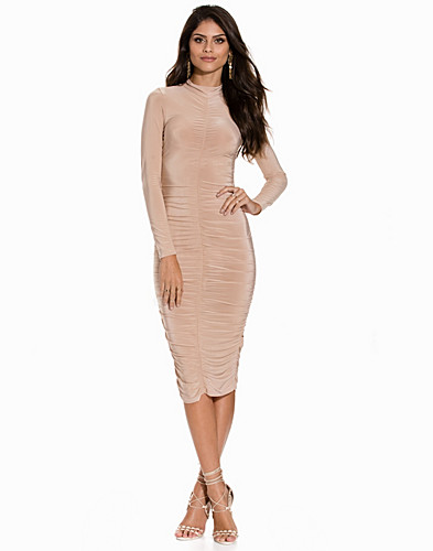 Hi Neck Rouched Slinky Midi Dress (2148992973)