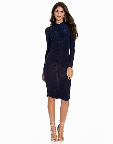 Hi Neck Rouched Slinky Midi Dress (2149787335)