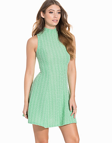 High Neck Metallic Boucle Skater Dress (2200185617)