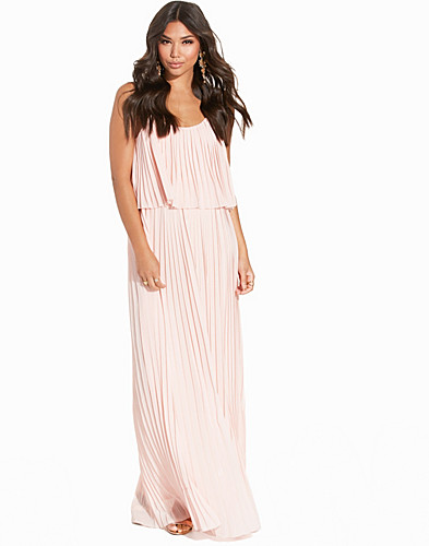 Chiffon Pleated Overlay Maxi Dress (2200185633)
