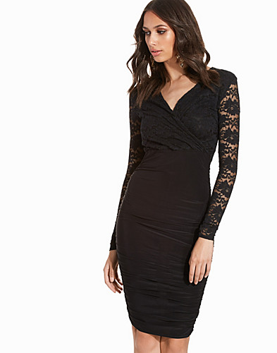 V Neck Lace Detail Slinky Bodycon Dress (2224361069)