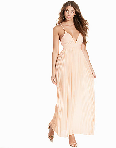 Chiffon Pleated Detail Maxi Dress (2209648229)