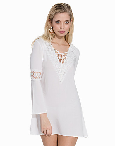 V Neck Lace Trim Dress (2157694083)