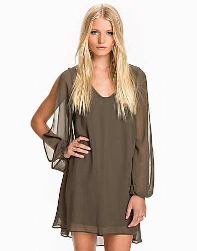 Open Split Sleeve Chiffon Dress (2026266089)