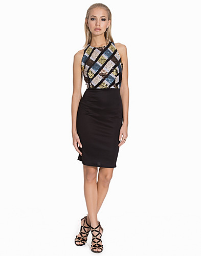 Strap Back Sleeveless Sequin Bodycon Dress (2111007339)