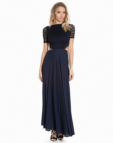 Lace Detailed Open Back Maxi Dress (2138141501)