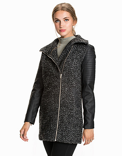 Leather Sleeve Fit Coat (2008708363)