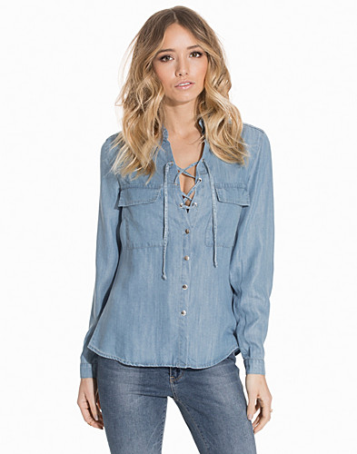Lace Up Denim Shirt (2142362529)