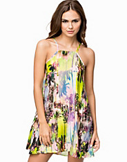 Tropical Palm Print Swing Dress