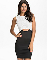 Cutout Waist Bodycon Lace Dress