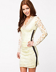 Wrap Front Lace Side Zip Dress