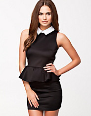 Scuba Peplum Collar Dress