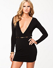Deep V Scooped Back Belted Dress