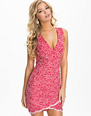 Sequin Lace V Neck Dress