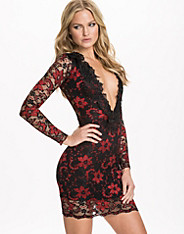 Deep V Front Lace Trim Dress