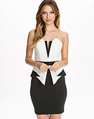 Bonded Scuba Bandeau Peplum Dress