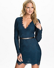 Belted V-neck Dress