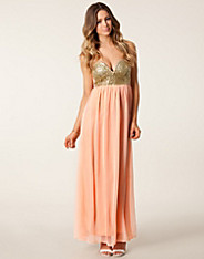 Glitter Bandeau Maxi Dress