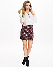 Quilted Check Zip Mini A-Line Skirt
