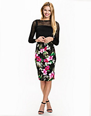Tropical Print Pencil Skirt