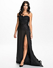 Lace Insert Slit Dress