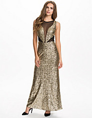 Sequin Mesh Instert Maxi Dress
