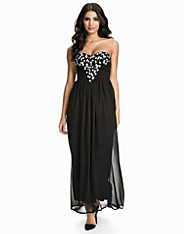 Deep V Embellished Bustier Maxi Dress