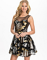 Floral Sequin Mesh Prom Dress