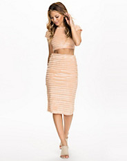 Fringe Nude Pencil Skirt