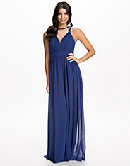 Chiffon Mesh Front Maxi Dress