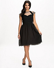 Mesh Insert Embellished Fit&Flare Dress