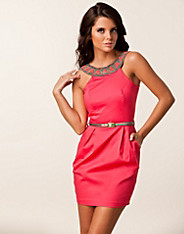 Sateen Trim Belt Dress