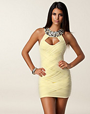 Twisted Mesh Jewel Neck Dress