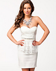 Bandeau Lace Peplum Dress