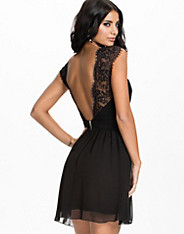 Open Back Lace Chiffon Dress
