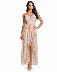 Pleated Front Chiffon Maxi Dress