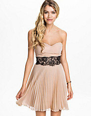 Pleated Bandeau Eyelash Waistband Dress