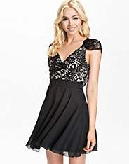 Lace Gorgette Eyelash Back Skater Dress