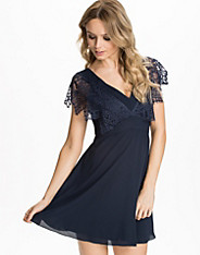 V-Neck Lace Chiffon Dress