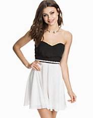 Diamonte Waist Bandeau Dress