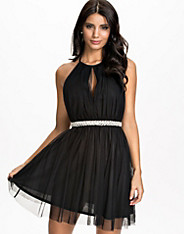 Mesh Cross Back Waistband Trim Dress